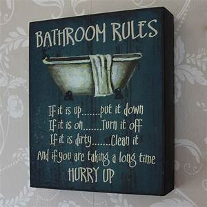 39bathroom rules39 wooden wall plaque melody maisonr With wall plaques for bathroom