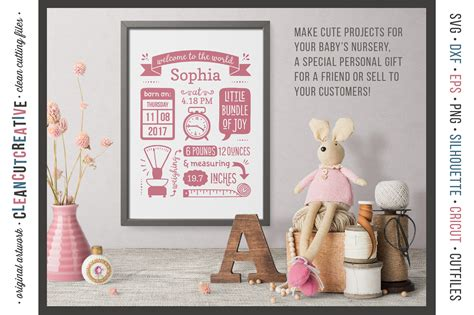 Minted also offers a number of smart and chic birth announcement formats, such as postcards and petites. BIRTH STATS TEMPLATE - Baby Birth Announcement - SVG DXF ...