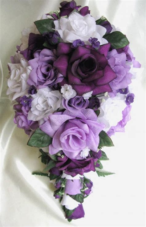 shipping wedding bouquet bridal silk flowers cascade