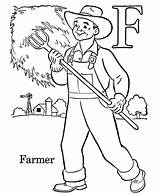 Coloring Farmer Farm Care Taking Village sketch template