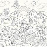Coloring Candy Paradise Sweet Super Fun Candyland Rainbow Animals Vector Cupcake Summer Illustration Istock Houses Rivers sketch template