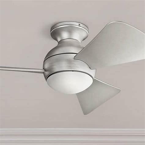 kichler sola ceiling fan 34 quot sola brushed nickel wet led hugger ceiling fan