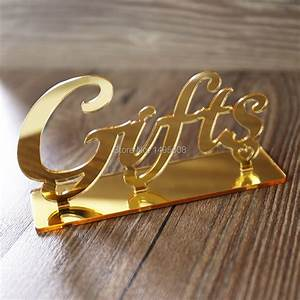 Gifts, Table, Sign, Wedding, Table, Decor, Script, Signs, Acrylic, Table, Sign, Gold, Decor, Table, Signs