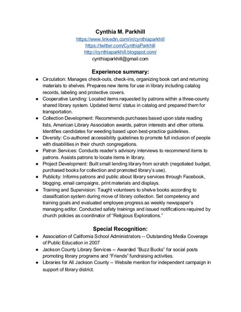 library volunteer experience resume resume cynthia parkhill s library experience october 2013