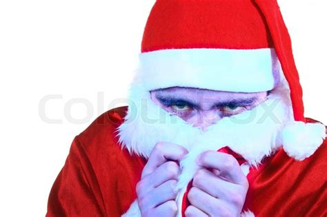 ho santa frozen cold weather claus turned isolated very background colourbox