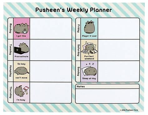 2018 desk calendar m buy pusheen weekly planner at mighty ape nz