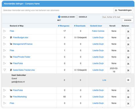beheer gekoppelde apparaten externe delingen  de cloud vboxxcloud