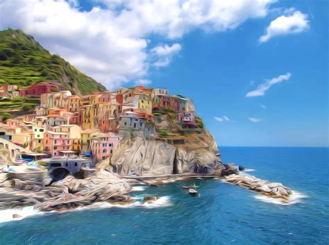 Vernazza Fishermen Village In Cinque Terre Painting By
