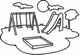 Clipart Playground Clip Slide Equipment Kindergarten Coloring Play Swing sketch template