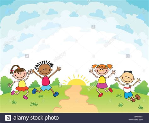 summer camp flyer template children are jumping on the glade bunner cartoon funny