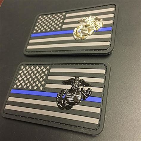 Marine Corps Thin Blue Line Patch   Stealth Edition (Black