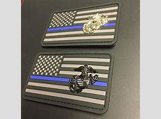 Marine Corps Thin Blue Line Patch Stealth Edition Black