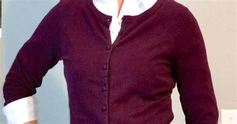 Burgundy Cardigan, White Button Down, Brown Pencil Skirt