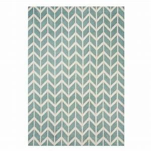 tapis art deco bleu et blanc a motifs geometriques With tapis blanc et bleu