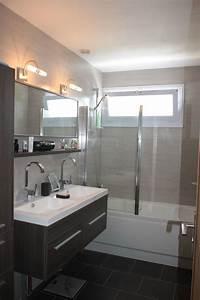 salle de bain turquoise et blanc With salle de bain faience grise