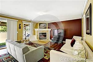 Home Interior With Contrast Color Walls Stock
