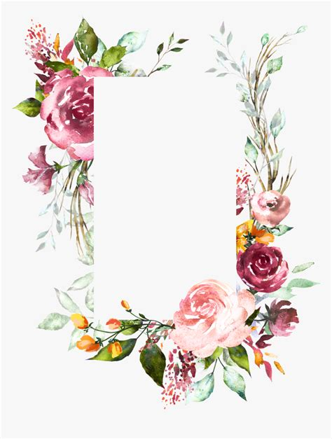 H804 Flower Frame Flower Art Watercolor Flowers