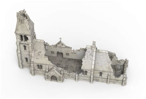 medieval church ruin printable scenery