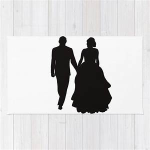 Wedding Couple Silhouette Design For Weddings Rug by ...
