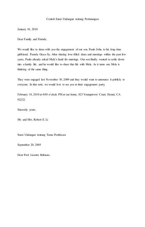 contoh surat dinas tentang undangan contoh surat undangan tentang pertunangan