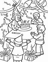 Coloring Birthday Party Pages Candles Blowing Celebration Candle Print Cake Printable Netart sketch template
