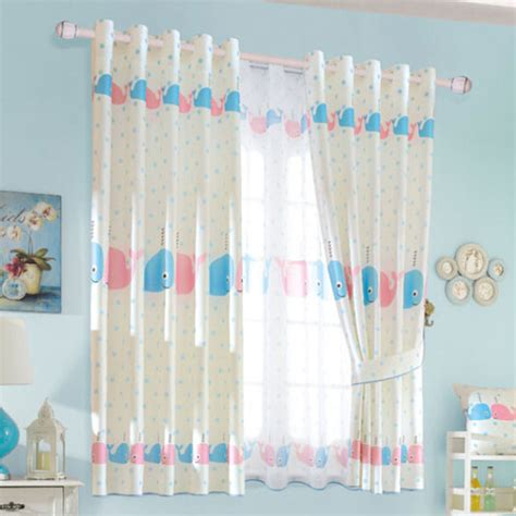 baby blue polka dots fish bedroom curtains