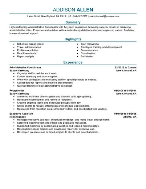 Office Coordinator Resume by Use This Professional Administrative Coordinator Resume