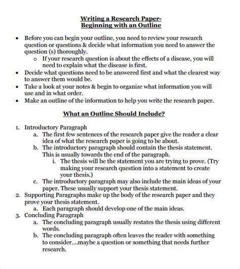 Research Paper Template 10 Sle Research Paper Outline Templates To