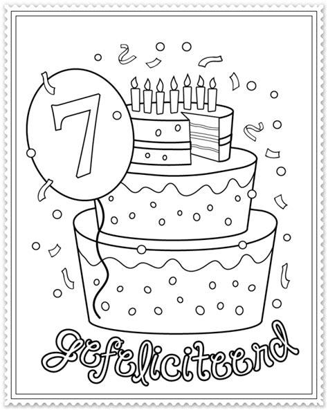 Hoera 38 Jaar Kleurplaat by Kleurplaat Hoera 7 Jaar Printable Birthday