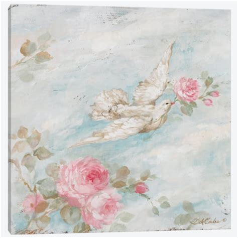 shabby chic canvas prints french farmhouse romantic shabby chic quot peace quot dove and roses canvas prints debi coules