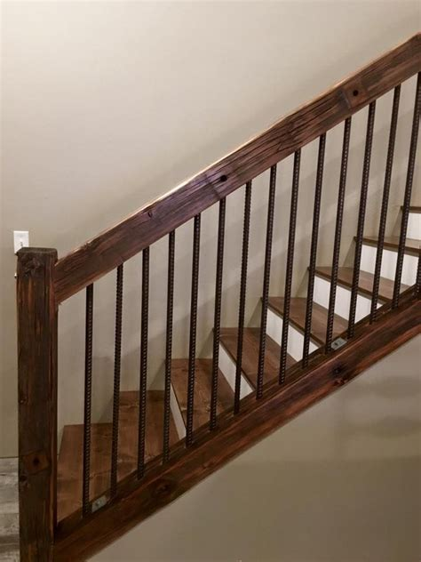 banister railings rustic utility pole cross arms reclaimed into stair