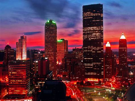 wallpapers night city glow