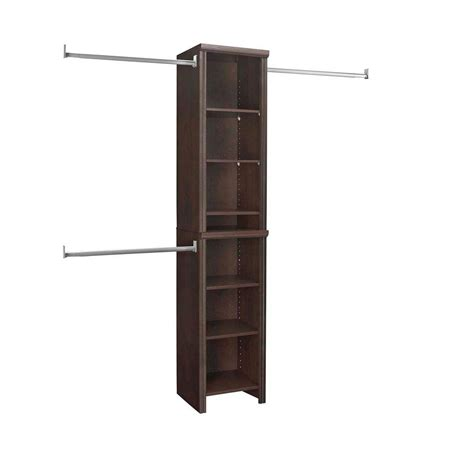 closetmaid impressions 4 ft to 9 ft w chocolate narrow