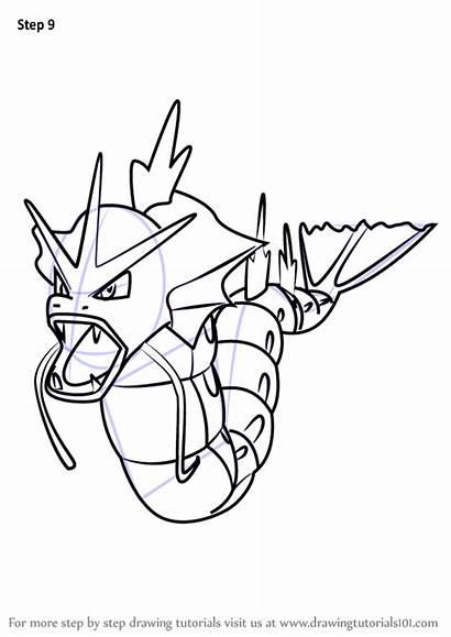 Gyarados Pokemon Draw Step Drawingtutorials101 Drawing Drawings
