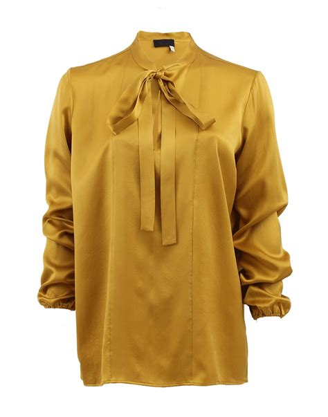 mustard blouse lanvin sleeve split neck blouse with tie in yellow