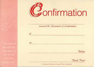 Confirmation presentation certificate pack of 25 catholic printing company of farnworth for Catholic confirmation certificate