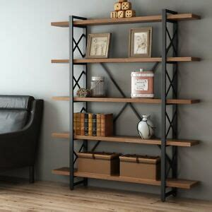 Vintage Industrial Bookcase by 5 Shelf Vintage Industrial Bookcase Wood And Metal Open