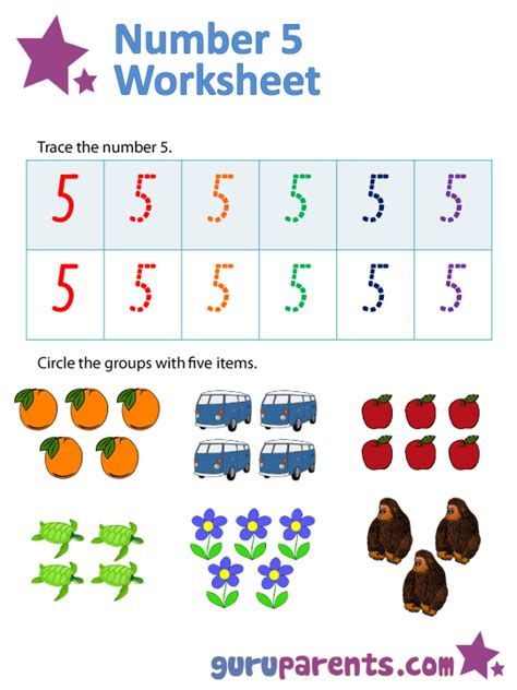 number 5 worksheets guruparents