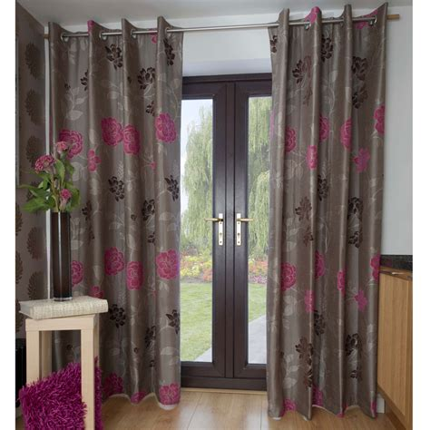 casablanca floral jacquard lined eyelet curtains cocoa