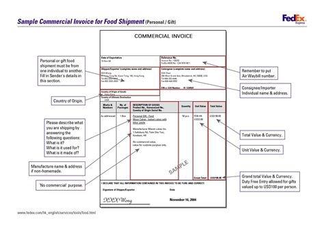 fedex customs invoice invoice template ideas