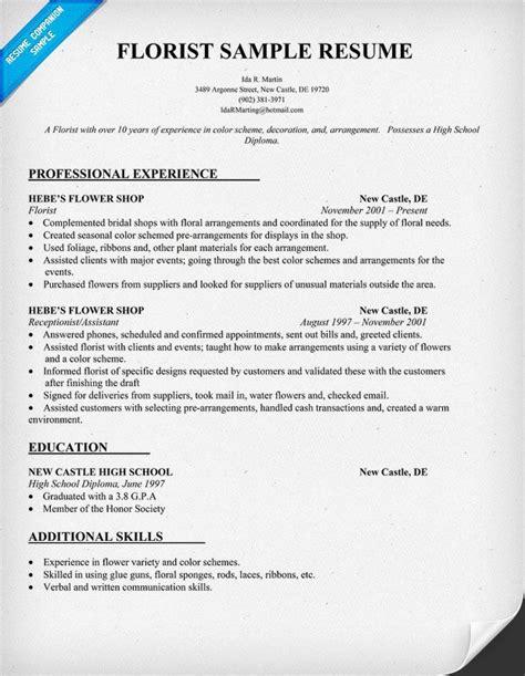 Resume Styles Templates Florist Resume Sle Resumecompanion Com Resume Sles Across All Industries