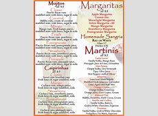 Drink Menu at Spanish Restaurant Solun Tapas Bar in