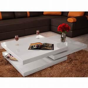 Table Basse Carrée Blanc Laqué : la boutique en ligne table basse blanc laqu carr e pivotante 3 plateaux ~ Teatrodelosmanantiales.com Idées de Décoration
