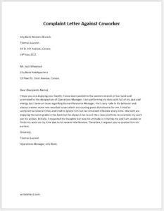 complaint letter  coworkercolleague writelettercom