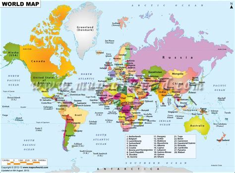 world map showing   countries   world