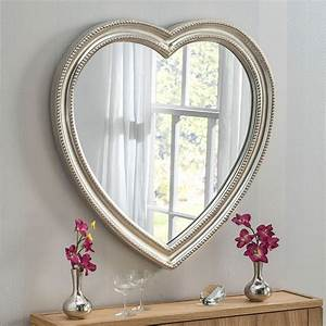 Contemporary, Silver, Heart, Wall, Mirror