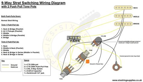 9 way strat wiring mod using push pull pots