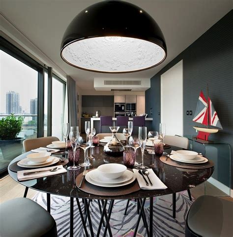 bowl chandelier dining room modern stylish dining area interior with black large bowl