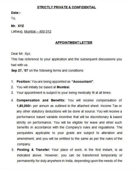 sample appointment letters writing letters formats