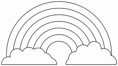 Rainbow Template Coloring Clipart Outline Colouring Clouds